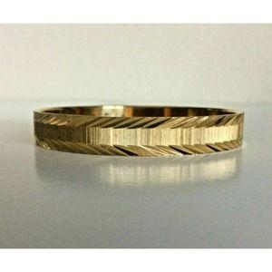 Vintage Monet Bangle Bracelet Textured Gold Tone
